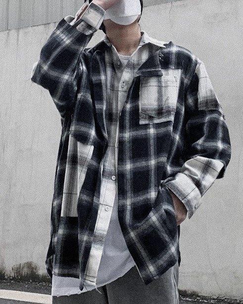 リメイク風カットオフチェック長袖シャツの画像1
